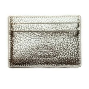 Card holder genuine pebbled leather champagne gold